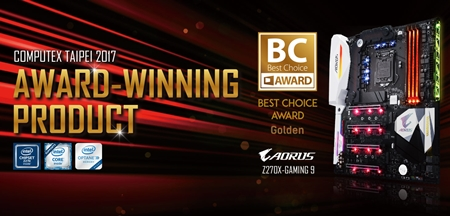 AORUS Z270X-Gaming 9 Wins Computex 2017 Best Choice Gold Award